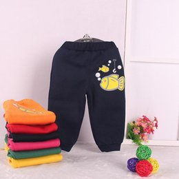 Wholesale Autumn Winter Baby velvet trousers cotton knitting color printing cute fish warm winter thick leggings baby stretch sports pants