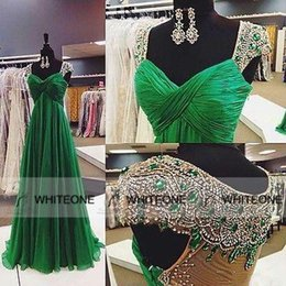 Wholesale 2015 Emerald Green Chiffon Crystals Evening Prom Dresses Cap Sleeves Sheer Back Floor Length Formal Occasion Wears Pageant Party Gowns Cheap