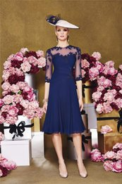 Wholesale Navy Blue Knee Length Mother of the Bride Dresses with Lace Half Long Sleeves A Line Chiffon Bridesmaid Bridal Party Evening Gowns