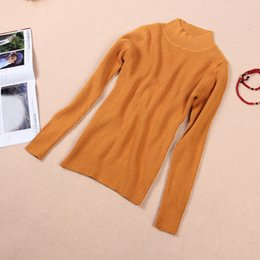 Wholesale Pit Strip Half height Collar Sheep Cashmere Pullover Jumper For Women Girls Knitting Sweater Pullover Fashion High Elasticity Cashmere BF017