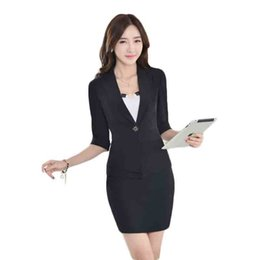 Wholesale Women business formal office suits work new fashion half sleeve single bottom blazer solid piece mini skirt suits black yellow