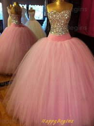 Wholesale Vestidos De Quinceanera Sweet Dress Quinceanera Gowns Bling Beaded Crystals Prom Ball Gowns Tulle Corset Debutante Dress for Years