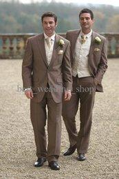 Wholesale 2015 Custom Made Slim Fit Dark Brown Groom Tuxedos Notch Lapel Best Man Groomsmen Men Wedding Suits Bridegroom Jacket Pants Vest Tie