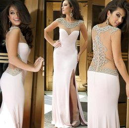 Wholesale Wow Light Pink Long Prom Dresses Evening Wear Sheer Jewel Neck Crystals Beaded Illusion Back Side Split Women Formal Occasion Party Gowns