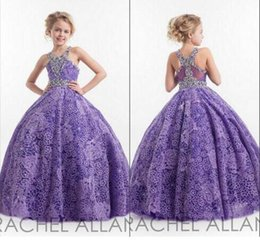 Wholesale 2016 New Arrival Girls Teens Pageant Dresses Ball Gown Sweep Train Lace With Beaded Flower Girl Dresses Kids Formal Wear BA1626