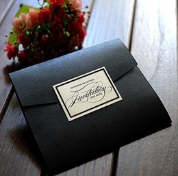 Wholesale Wedding invitations invitation card NK black color wedding card with RSVP
