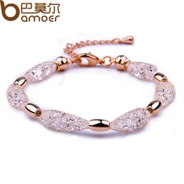 Wholesale 2015 Hot Sell K Rose Gold Plated Crystal Chain Bracelet for Women Luxury High Quality Jewelry JSB017