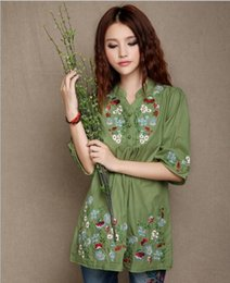 Wholesale Cotton and linen dress Big yards blouse Summer wear national wind shirt collar embroidery