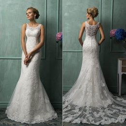 Wholesale New Hot Custom Covered Button Mermaid real picture Court Train Lace Glamorous Church Bridal Gowns Wedding Dresses With Scoop Sheer Back
