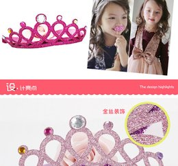 Wholesale Hot sell Girls Baby Girls Glitter Felt Headbands with Colors Crystals Novelty Tiara For Baby Princess Hair Accessories A7455