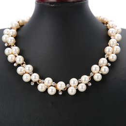 Wholesale Cheap Bridal Jewelry Pearls Necklace Wedding Dresses Accessory Necklace Evening Prom Dress Jewelry Bride crystal Necklace