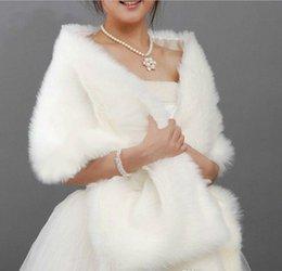 Wholesale Bridal Wraps New x35 cm Long White Black Faux Fur Shrug Cape Stole Wrap Wedding Bridal Special Occasion Shawl