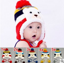 Wholesale Kawaii Cartoon Bear Design Stripe and Balls Decorated Crochet Winter Thickening Earflap Baby Hats Kids Caps