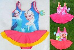 Wholesale 6y y Frozen swimwear Anna Elsa New large Baby Girls kids swimwear girl Swimsuit Girls Swimwear Children Bathing Suits Kids Swim Clothing
