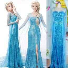 Wholesale Christmas Frozen Elsa Queen Women Evening Dress Cosplay Costume Gown Fancy Dress DH04