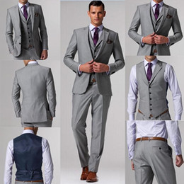 Wholesale Best Selling Gray Wedding Men Suits Business Suit Bridegroom Groom Tuxedo For Men Custom Made Three piece Jacket Vest Pants