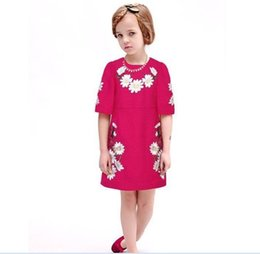 Wholesale 2016 Spring Girls Dress Half Sleeve Daisy Jacquard Dress Party Vintage Dress Girl Luxury Clothes Dress Jumper Tops K6508