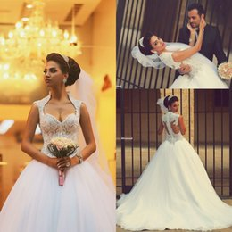 Wholesale 2016 New Plus Size Ball Gown Lace Wedding Dresses Arabic Said Mhamad Sweetheart Beaded Topped Illusion Back Bridal Gowns