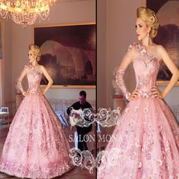 2016 de un hombro vestidos de quinceañera 3D floral apliques de lujo rosado de la bola del vestido Vestidos del baile de las mujeres del vestido del desfile de vestidos formales BA0674