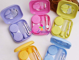 Wholesale Mini cute color plastic Contact Lenses case boxes travel kit set Contact lens holder storage with Small Mirror