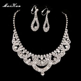 Wholesale 2015 The new high end two piece bridal necklace earrings diamond wedding jewelry sets of chain jewelry new