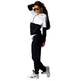 Wholesale Autumn New Fashion Womens Zipper Tracksuit Hoodie Sweatshirt Pants Casual Patchwork Hip Pop Jogging Sport Suits For Women FG1511