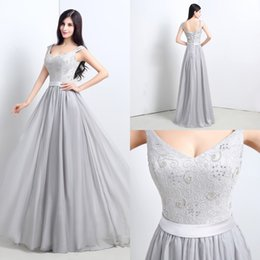 Wholesale In Stock Cheap Gray Prom Dresses V Neck Cap Sleeves Lace up Chiffon Long Party Evening Dresses Lace Bodice with Beads Real Pictures