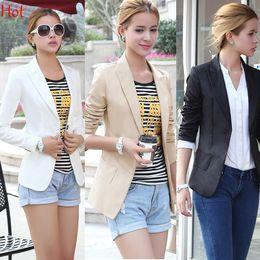 Wholesale 2015 Blazers Women Suit V Neck Blazer Casual Slim Brand Formal Jacket Basic One Button Blazers OL Business Coat Black White Khaki SV004771