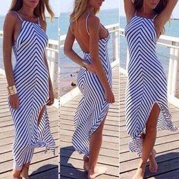 Wholesale 2015 Fashion Sexy BOHO Sexy Women Summer Boho Long Maxi Evening Party Dress Beach Dresses stripe Sundress