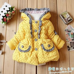 Wholesale EZ12 Brand High Quality Children Winter Coat Girls Fashionable Cotton padded Clothes Children s Clothing Yellow Red and Pink