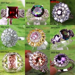 Wholesale Cheap Only Colorful Rings Round Rectangle Cut Topaz Gems Sliver Plated Princess Wedding Lady Ring Bridal Jewelry