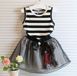 Wholesale 2 Piece Sets Children Stripe Vest Tops Short Skirt Girl Skirt Sets Kids Clothes Sets set J7EA3