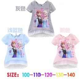 Wholesale 30pcs baby girls frozen Elsa Anna princess printed long t shirt dress tee children summer short sleeve lace dress pink blue gray