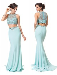 Wholesale Two Pieces Prom Dresses Aqua Jersey Formal Evening Gowns Zipper Back Beads Pageant Party Color Dress Jewel Neckline Sweep Train