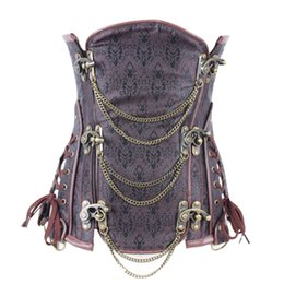Wholesale Plus Size Waist Training Corset Gothique Full Steel Boned Brocade Corset Underbust Summer Style Steampunk Brown Bustier Gaine