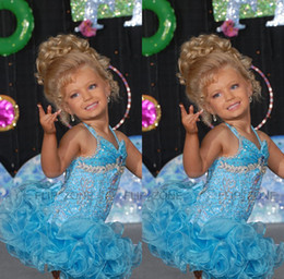Wholesale Light Sky Blue Short Glitz Little Girl s Pageant Dresses for teens with Halter Crystal Sugars Toddler Kids Ritzee Girl Cupcake Gowns