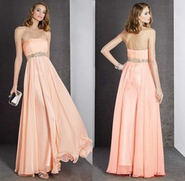 Wholesale Charming Beaded Chiffon Prom Dresses Strapless Sleeveless Floor Length Backless Formal Gowns Dresses Party Evening Teens