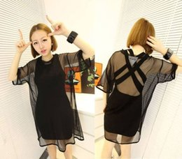 Wholesale S Sexy Women Black See Through Mesh perspective Short Sleeve Cool Shirt Oversize Cover Tops Blouse USA