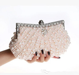 Wholesale Sparkly Pearls Bridal Hand Bags Luxury Cheap High Quality Wedding Accessories Champagne Black Ivory Evening Party Bag
