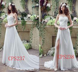 Wholesale 2016 Designer Vestidos De Novia Cheap Chiffon Beach Wedding Dresses Split Boho Strapless A Line Sweep Train Robe De Mariage Bridal Dress