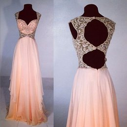 Wholesale New Style Light Blush Pink Prom Dresses Sparkly Straps Prom Gown Backless Evening Gowns For Teens Hot Sale