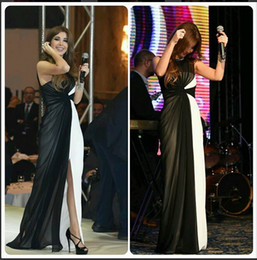 Wholesale 2016 Nancy Ajram Evening Dresses Arabic Celebrity Dress Black and White Two Tone Sheath Greek Goddess Style Evening Gowns Party Formal Wear