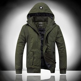 Wholesale 2015 New Army Green Mens Winter Hooded Jacket Military Style Men s Retro Jackets Coats Thick Plus Size Outerwear JA457