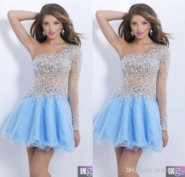Wholesale Luxury One Shoulder Sleeves Short A Line Mini Party Dresses Cocktail Dresses Tulle Beaded Crystals Baby Blue Homecoming Dresses UM1729