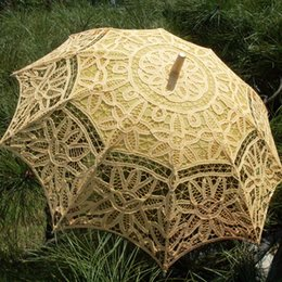 Wholesale Lace Bridal Parasols White Yellow Black Wedding Umbrella New Photography props cm Diameter CM length Beautiful Bridal Accessories