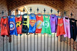 Wholesale 15 Styles cm Superhero Kids Superman Cape Superman Batman Spiderman Supergirl Batgirl Robin kids Christmas Halloween cape