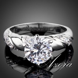Wholesale AZORA White Gold plated ct Round Cut Cubic Zirconia with micro CZ Setting Engagement Rings for woman TR0077