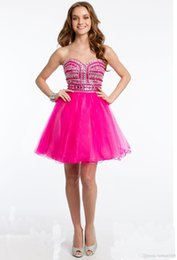 Wholesale Hot Pink Homecoming Dresses Beaded Corset Bodice Short Prom Dress Custom Made Special Occasion Gown