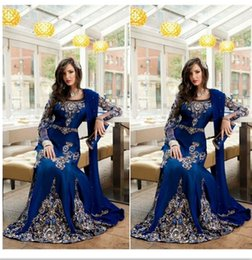 Wholesale 2016 Arabic Style Navy Blue Long Mother s Dresses Beaded Embroidery Muslim Abaya Dubai Kaftan Evening Dresses Prom Gowns BA0718