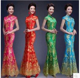 Wholesale 2015 fashion hot selling paillette lace the bride long evening formal dress elegant fish tail banquet cheongsam